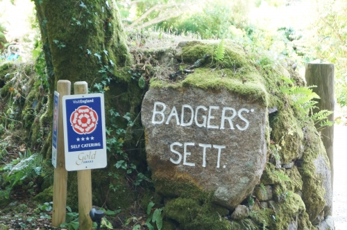 Badgers Sett Holiday Cottages sign, freshly painted and looking good
