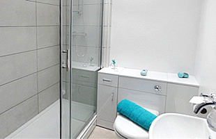 Bathroom with shower, washbasin and wc