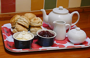 A delicious cream tea awaits you on arrival